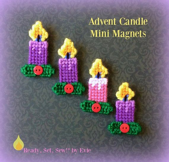 Plastic Canvas: Advent Candle Mini Magnets (set of 4)