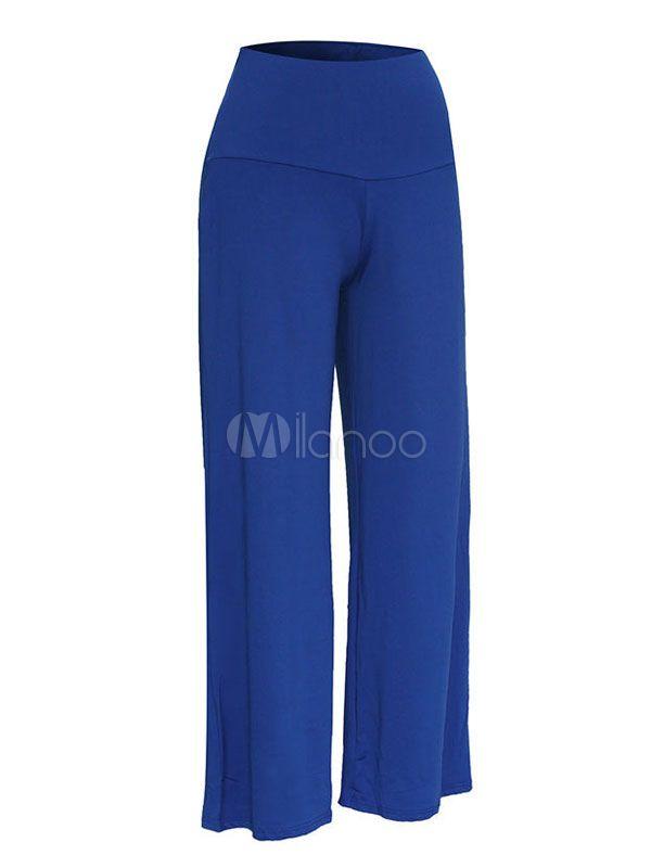 6b74e204ab1aa Wide Leg Pants Women s Elastic Waist Solid Color Loose Leg Casual Trousers   Women