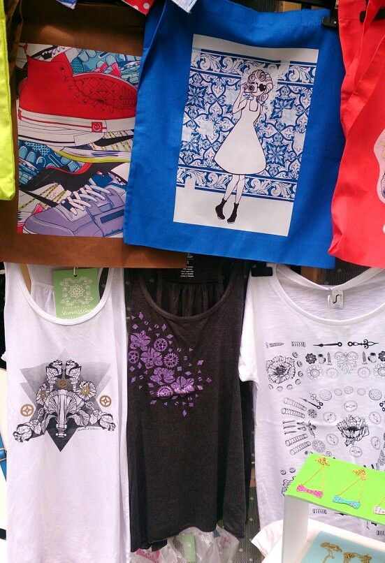 Print layering, our canvas bags and our graphic tees all in one neat little place at the Meet Market craft fair