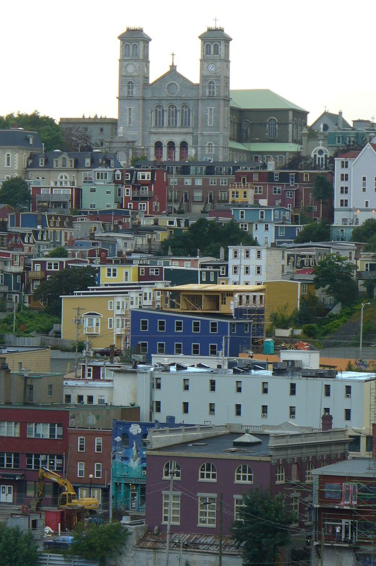 St. John's is the capital and largest city in Newfoundland and Labrador, and is the oldest English-founded city in North America. It is located on the eastern tip of the Avalon Peninsula on the island of Newfoundland. The church in the upper center is the Roman Catholic Cathedral.