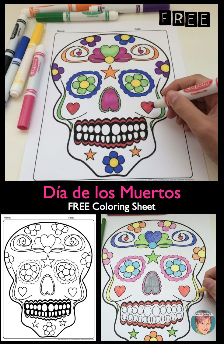 FREE Día de los Muertos / Day of the Dead sugar skull coloring sheet. Great art activity!