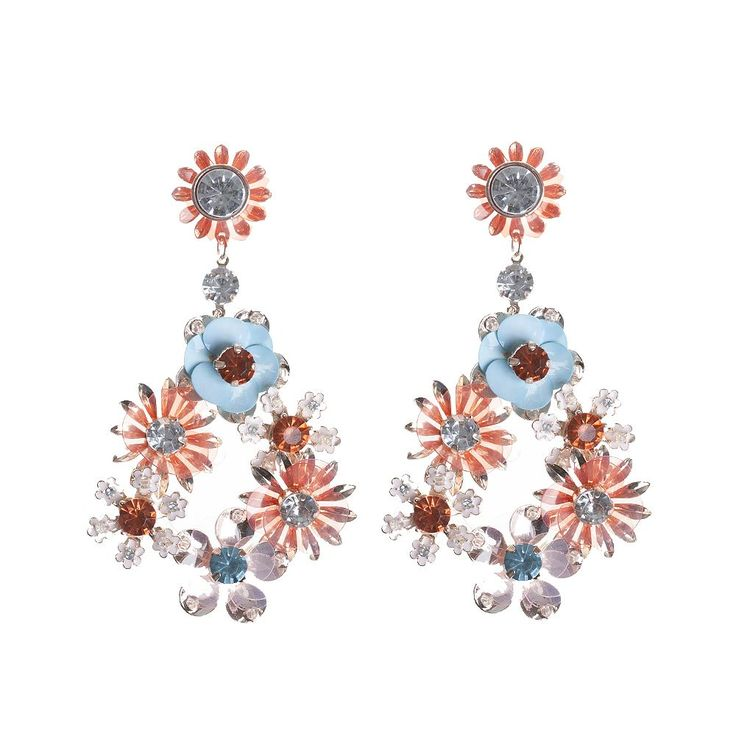 The floral trend has never looked better in these brightly coloured statement earrings on a rose gold backing