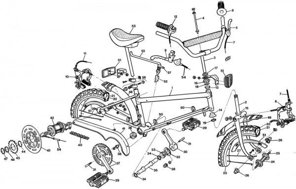 Manufacturer's exploded diagram of the Raleigh Grifter.