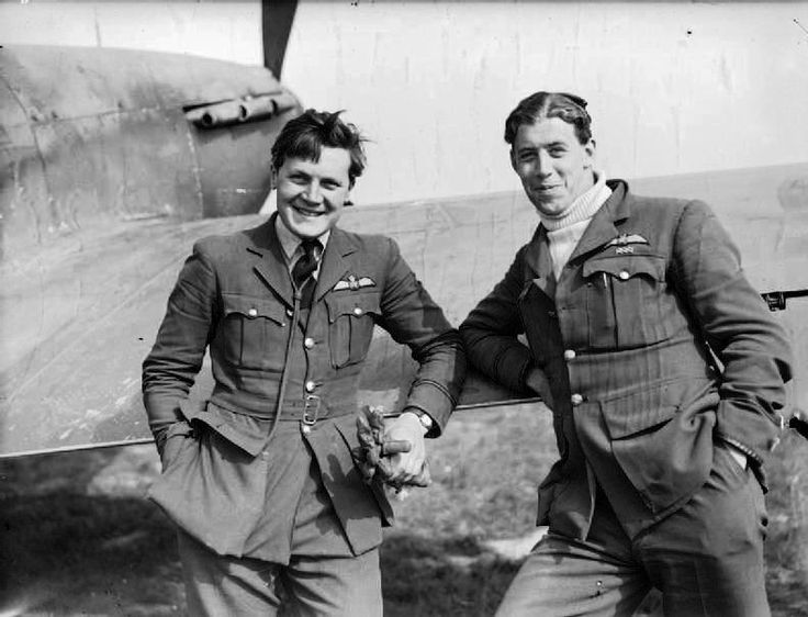 "RAF Fighter Command's first aces of the war, F/O Newell ""Fanny"" Orton (left) and F/O Edgar J ""Cobber"" Kain of No 73 Squadron RAF pose with Hurricane Mk I PADDYIII  between sorties at Rouvres in May 1940. Kain celebrated acedom in true RAF fashion on 26 March 1940, horizontally on a stretcher in the sergeants mess. Orton passed the 5 mark on 21 April. Orton left France with at least 15 victories and Kain with 17."