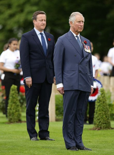 Prince Charles, Prince of Wales (right) and British Prime Minister David Cameron pay their respects during the Commemoration of the Centenary of the Battle of the Somme at the Commonwealth War Graves Commission Thiepval Memoria on July 1, 2016 in Thiepval, France.