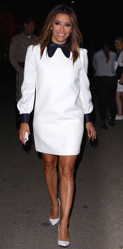 Ева Лонгория в платье с контрастным воротником и рукавами блистала на рауте! Фото