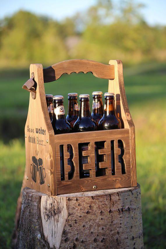 Beer Caddy Beer Carrier Rustic Beer Tote Beer Holder Beer Box Beer Tote Wooden Six Pack Bottle Opener Bottle Holder 6 Pack Holder Mens Gift Biertrager Bierkasten Bierhalter