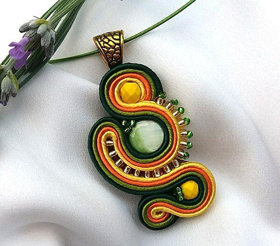 Pendant made in soutache technique.