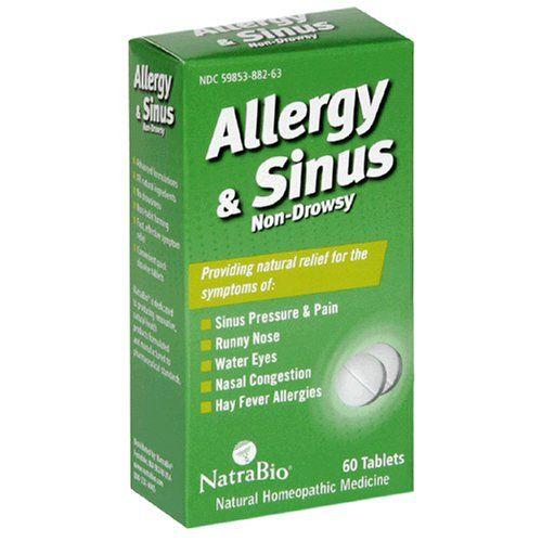NatraBio Allergy and Sinus Non-Drowsy - 60 Tablets