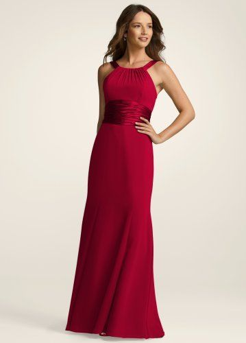 Davids Bridal Bridesmaid Dresses Chiffon And Charmeuse Dress With Rounded Neckline Style F12732 by David's Bridal