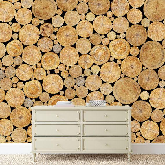 Wood Stack Mural | Adhesive wall mural | adhesive wallpaper | removable wallpaper | removable wall mural | wallpaper mural