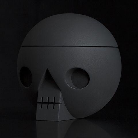 Kranium Black chalkboard paint skull with secret compartment. acnejr.com