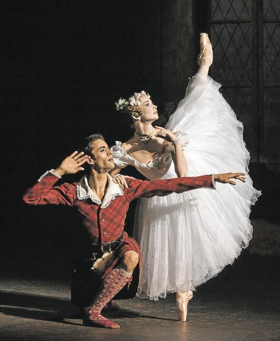 "Evgenia Obraztsova and Mathias Heymann in Lacotte's production of ""La Sylphide."" Photo © Anne Deniau."