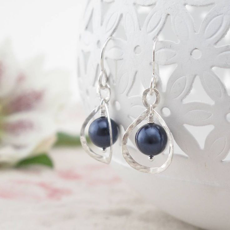Calla Lily, Midnight Blue Pearl And Silver Earrings
