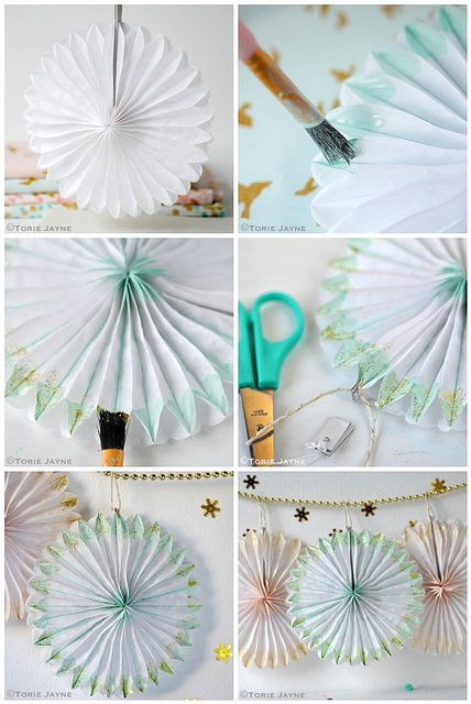 Hand painted & glittered paper fan tutorial by Torie Jayne