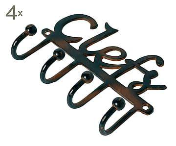 Set de 4 percheros de hierro con 4 colgadores llaves - Percheros de hierro ...