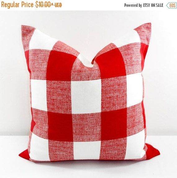SALE Red Pillow. Pillow Cover. Buffalo by TwistedBobbinDesigns