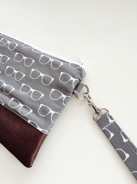 Grey Optomery Clutch Glasses Wristlet Wallet by daintybean