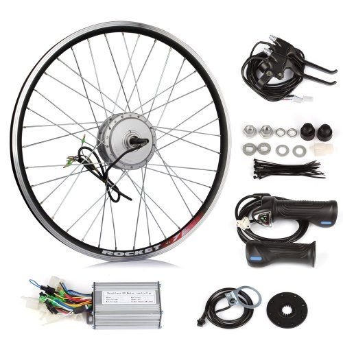 SainSpeed DIY Electric Bike Bicycle Motor Conversion Kit with Hub Motor with wheel, Controller, Speed Throttle, Brake Lever, Hand Grip, Pedal Assistant System, Power Indicator, Power Cable, SainSpeed http://www.amazon.ca/dp/B00E56JY9I/ref=cm_sw_r_pi_dp_kVu4tb0AN30JR