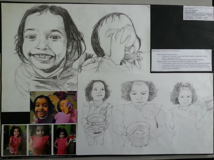 Annof started with a few portrait studies of his little cousins in various poses. As the children were unable to sit still for long he took a series of photographs and observed directly from these.