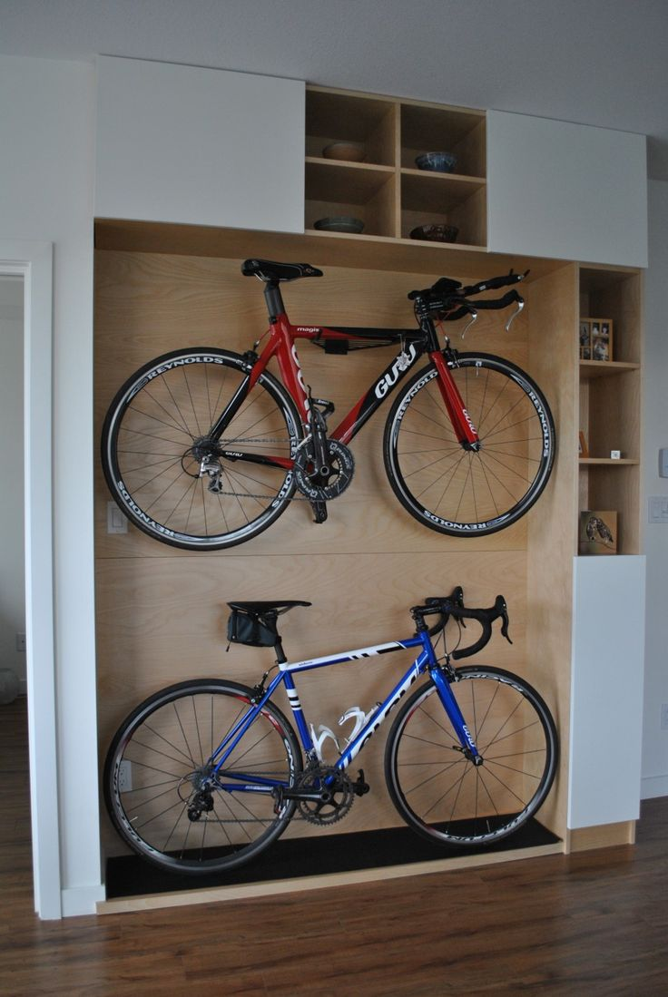 Excellent Wooden Platform Design For Home Bikes Storage Ideas Combined With Cubby Holes Accessories Storage As Great Home Indoor Bikes Storage Design. .