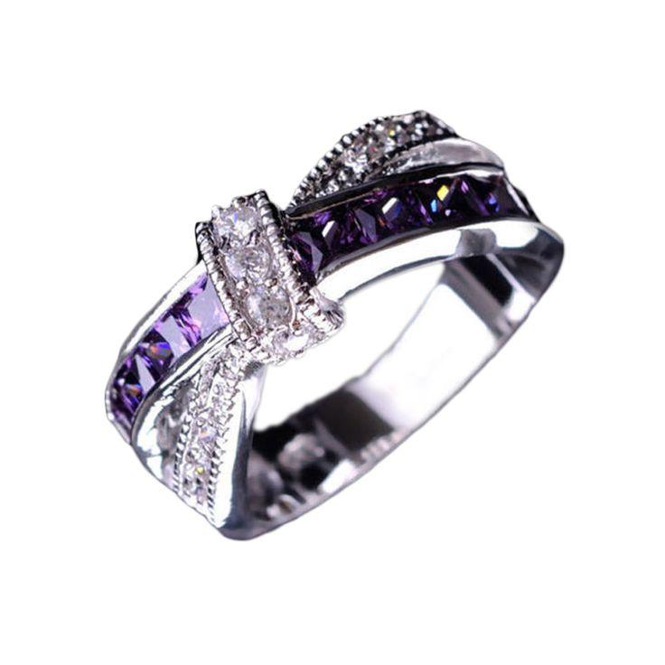 Gekreuzte Amethyst Hochzeit Verlobungsring Großhandel Kreuz Fingerring Luxus Lila Schmuck