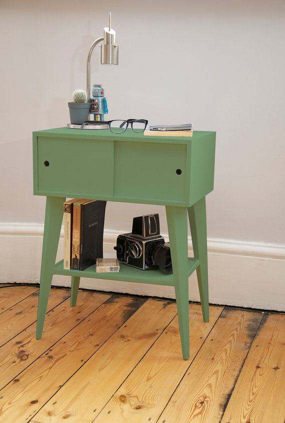 Mid century modern bedside table by TheReallyNiceBoxCo on Etsy