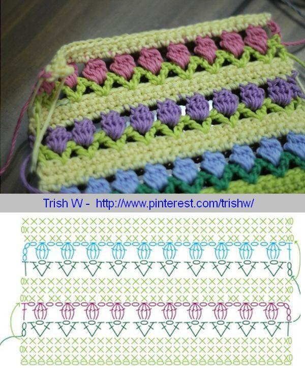 Tulip stitch diagram . . . . ღTrish W ~ http://www.pinterest.com/trishw/ . . . . #crochet