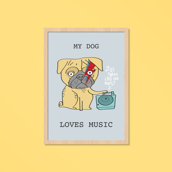 My Dog Pug Davd Bowie Graphic Posters Music by nacasadajoana