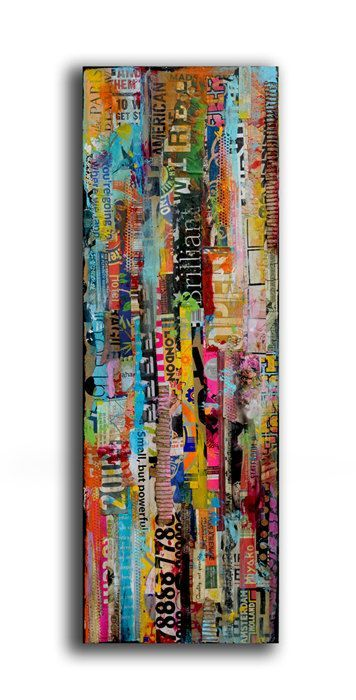 Vertical strips of paper...Cool maybe as a base for some other sort of art, perhaps art journaling.: