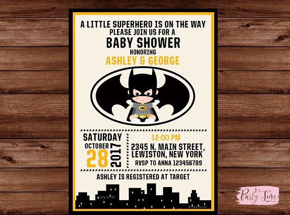 Batman baby shower invitation  Superhero Baby Shower