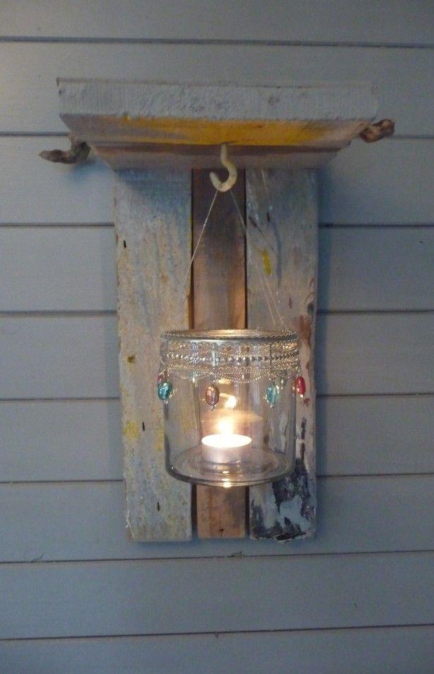 lampje gemaakt van aangespoeld hout uit Atlantische Oceaan door Ankie Anna E Wonen