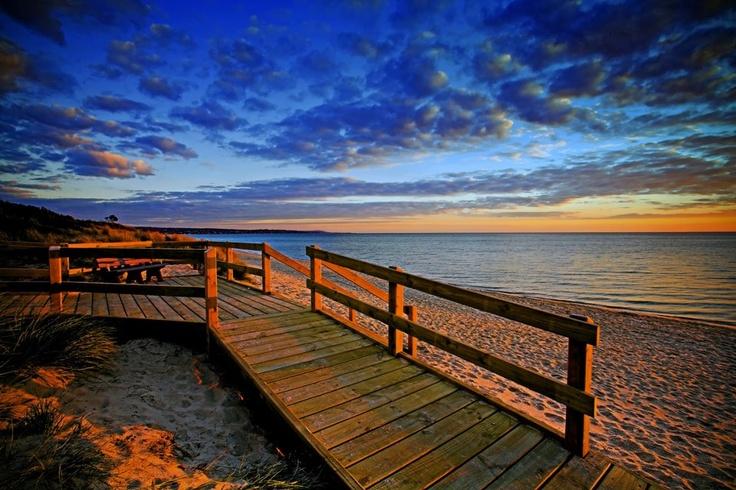 Take a beautiful walk along the Frankston foreshore boardwalk. Frankston, Victoria, Australia