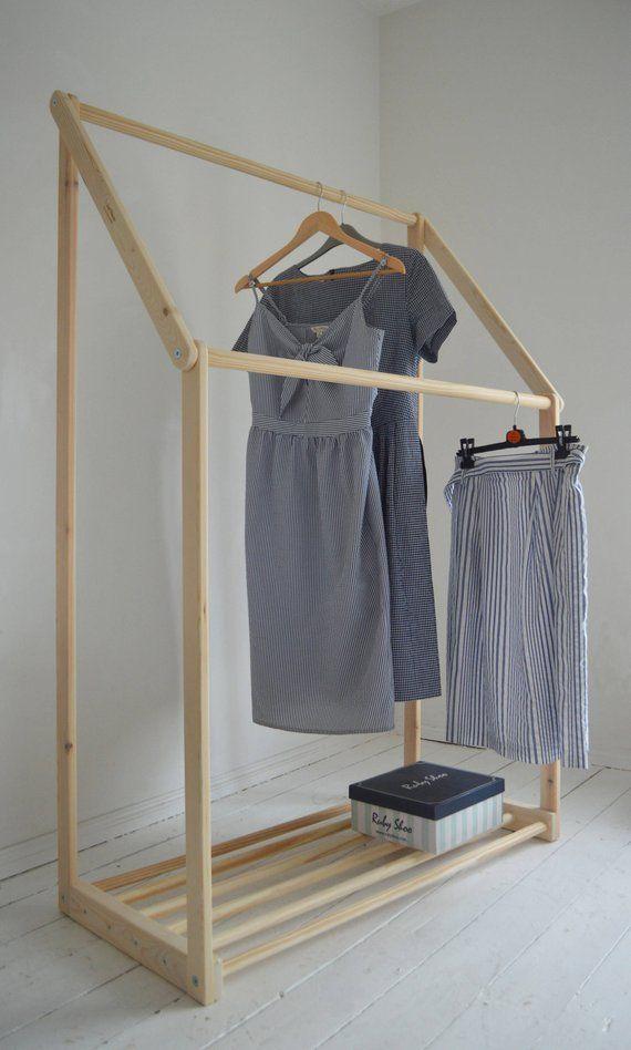 Handmade Natural Pine Wood Clothes Rail Clothes Rack With Etsy Wood Clothes Clothing Rack Clothes Rail