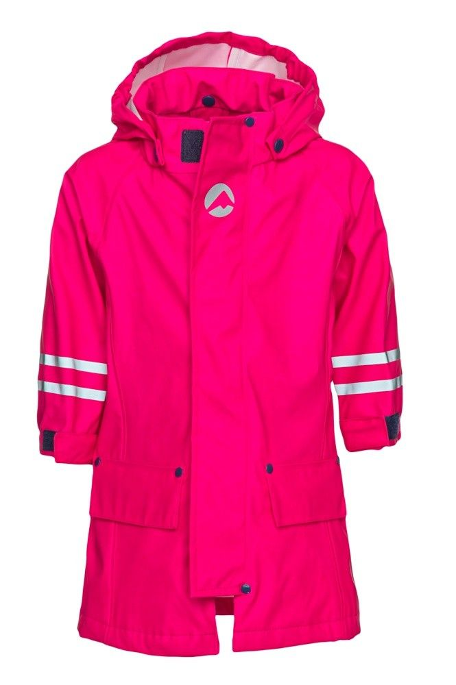 Saule rain coat for girls is lightweight and comfortable and can be used year round. The coat has a removable hood for added security.
