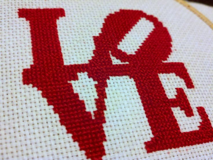 love cross stitch but each letter a different color