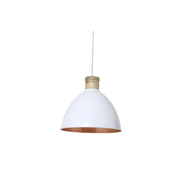 Biała lampa nad stół lub wyspę z serii oświetlenia skandynawskiego firmy…