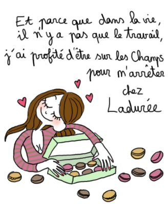 "penelope bagieu's illustration.."" And because there is something else beside work in life i decided to go to the champs elysées and stop at Ladurée"""