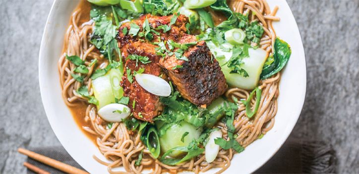 200g tempeh, seitan or firm tofu    2 tbsp vegetable oil    250g bok choi    Handful of fresh coriander, finely chopped    2 spring onions, sliced    For the maple and orange glaze    1 tsp toasted sesame oil    2cm fresh ginger, finely grated    ½ red pepper    3 tbsp tamari    2½ tbsp maple syrup    Zest and juice of ½ an orange    1 tbsp rice wine vinegar    For the miso noodle broth    135g soba noodles    1 tbs tamari    1 star anise    3½ tbsp brown rice miso