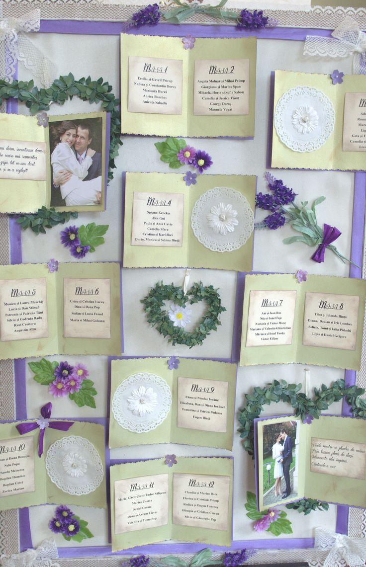 Handmade lavender seating chart