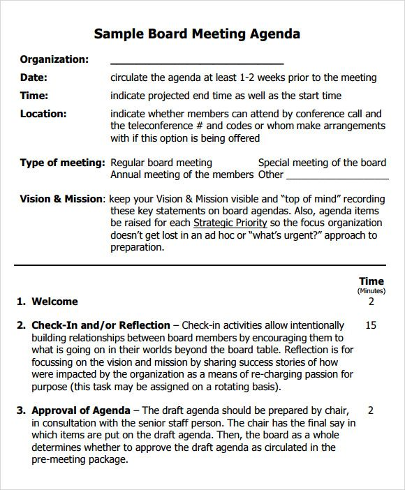Board Meeting Agenda Templates 10+ Printable Word, Excel  PDF