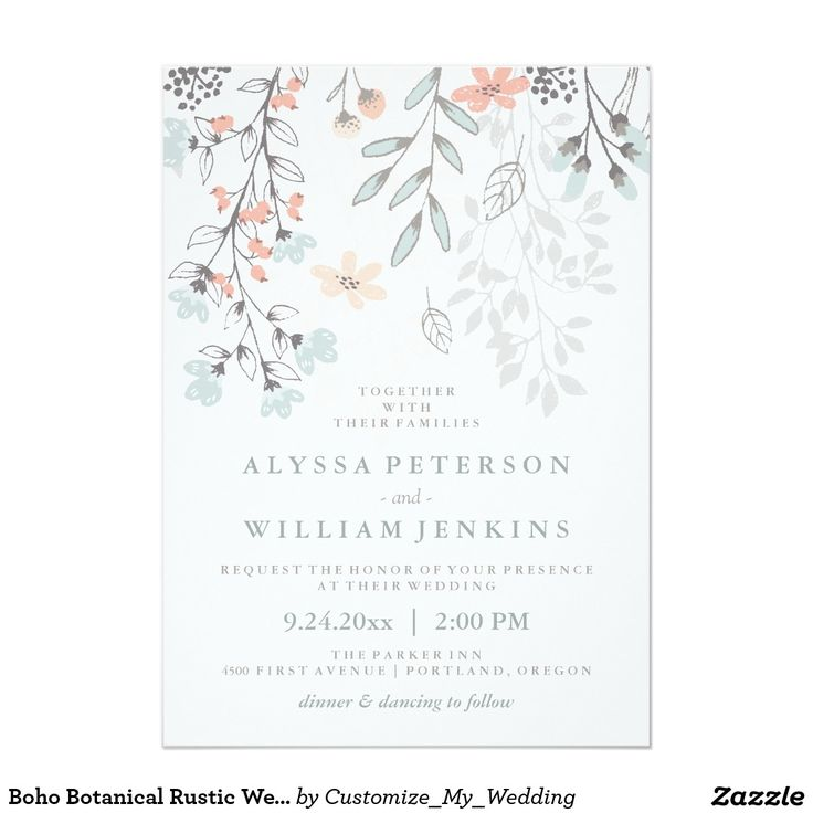 The 499 best flower wedding invitations images on pinterest bridal boho botanical rustic wedding in coral and gray invitation stopboris Choice Image