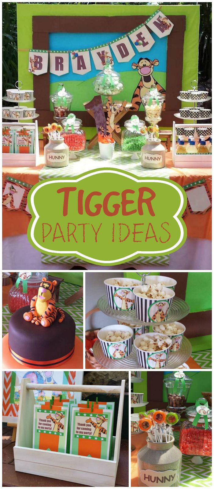 This Tigger party is so fun! There's popcorn and a cool cake! See more party planning ideas at CatchMyParty.com!