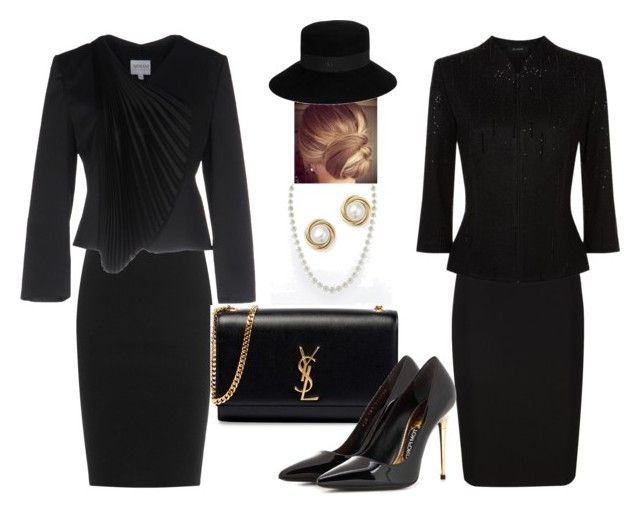 Black outfits by yasmina33 on Polyvore featuring St. John, Armani Collezioni, Thierry Mugler, DKNY, Tom Ford, Yves Saint Laurent, Bloomingdale's and Maison Michel