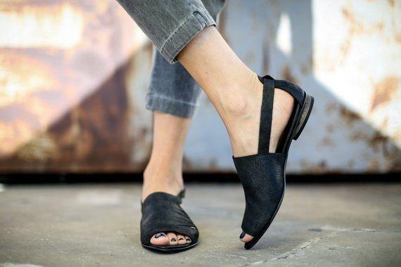 SALE Leather Sandals Black Summer Shoes