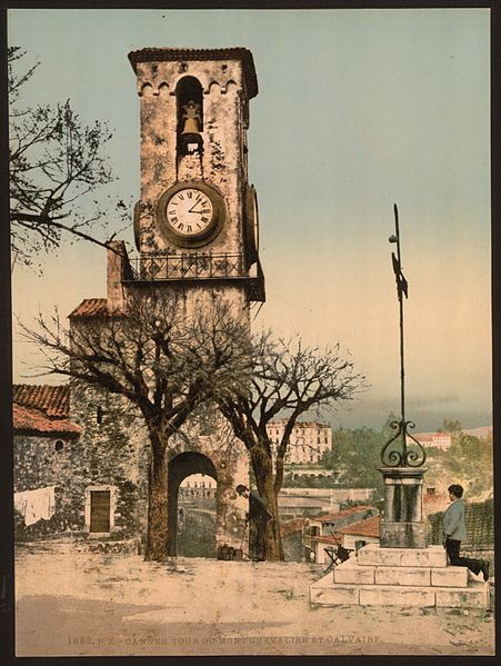 Mont Chevalier, the tower and calvary, in Cannes, Riviera.