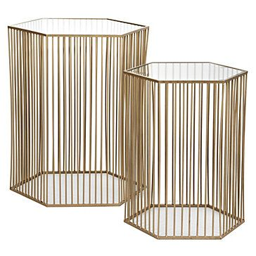 Clean lines through vertical repetition on Z Gallerie's Stixx End Tables, $399.00 per set