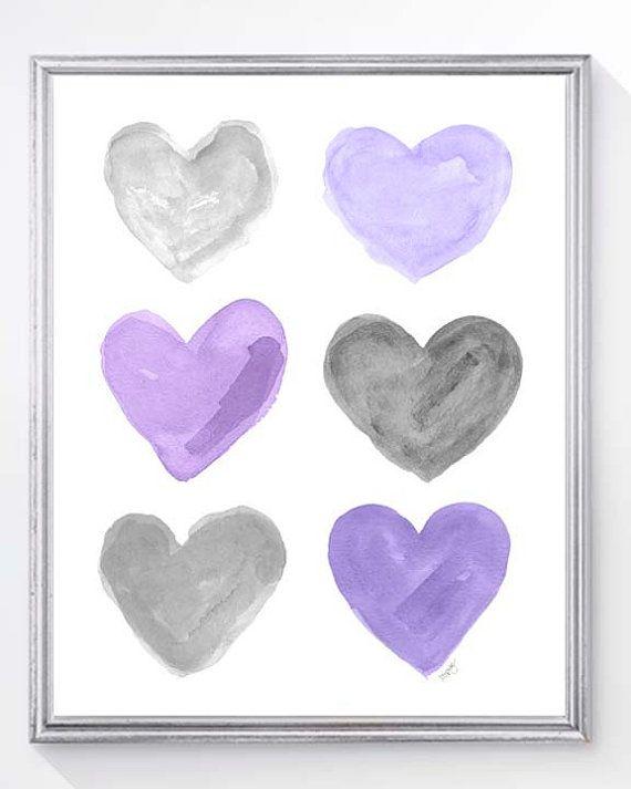 Purple and Gray Nursery Decor 8x10 by OutsideInArtStudio on Etsy