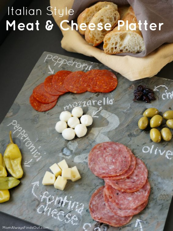 How to put together an Italian Style Meat and Cheese Platter. Easy party appetizer idea plus DIY Monogrammed Slate Cheese Board. #ad