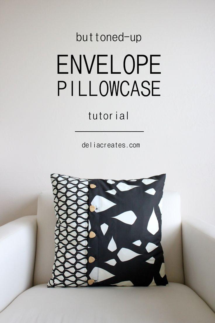 delia creates: Buttoned-Up Envelope Pillow Case TUTORIAL
